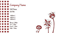 Red and White Floral Business Card Template